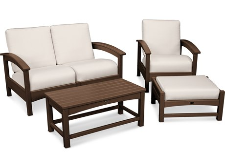 Trex® Outdoor Furniture Rockport 4-Piece Deep Seating Conversation Group in Vintage Lantern / Bird's Eye TRXTXS1352VL5472