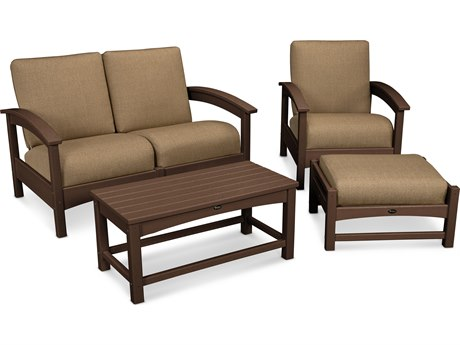 Trex® Outdoor Furniture Rockport 4-Piece Deep Seating Conversation Group in Vintage Lantern / Sesame TRXTXS1352VL8318