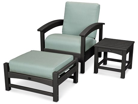 Trex® Outdoor Furniture 3 Piece Rockport Deep Seating Set in Charcoal Black / Spa TRXTXS1372CB5413
