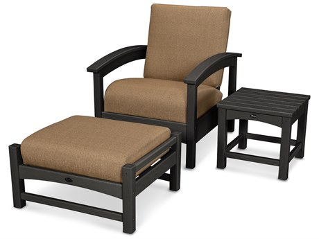 Trex® Outdoor Furniture 3 Piece Rockport Deep Seating Set in Charcoal Black / Sesame TRXTXS1372CB8318