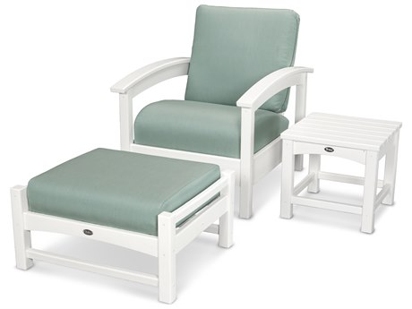 Trex® Outdoor Furniture 3 Piece Rockport Deep Seating Set in Classic White / Spa TRXTXS1372CW5413
