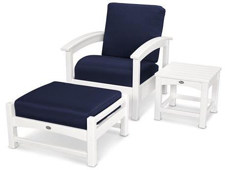 Trex® Outdoor Furniture 3 Piece Rockport Deep Seating Set in Classic White / Navy TRXTXS1372CW5439
