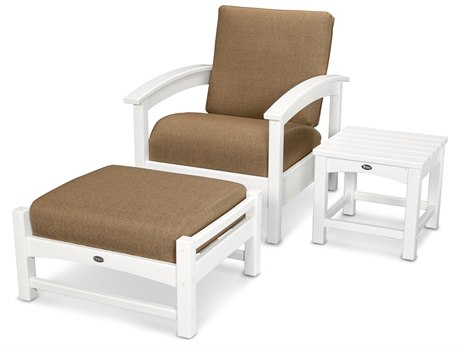 Trex® Outdoor Furniture 3 Piece Rockport Deep Seating Set in Classic White / Sesame TRXTXS1372CW8318