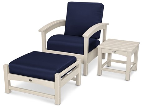 Trex® Outdoor Furniture 3 Piece Rockport Deep Seating Set in Sand Castle / Navy TRXTXS1372SC5439