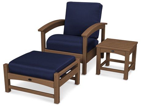 Trex® Outdoor Furniture 3 Piece Rockport Deep Seating Set in Tree House / Navy TRXTXS1372TH5439