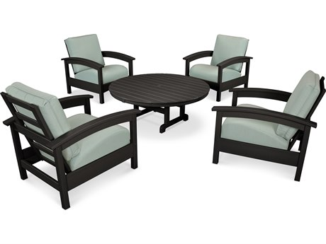Trex® Outdoor Furniture 5 Piece Rockport Deep Seating Set in Charcoal Black / Spa TRXTXS1382CB5413