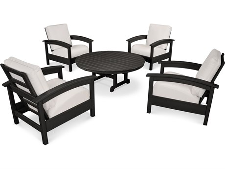 Trex® Outdoor Furniture 5 Piece Rockport Deep Seating Set in Charcoal Black / Bird's Eye TRXTXS1382CB5472