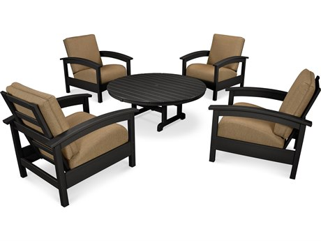 Trex® Outdoor Furniture 5 Piece Rockport Deep Seating Set in Charcoal Black / Sesame TRXTXS1382CB8318