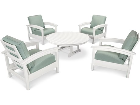 Trex® Outdoor Furniture 5 Piece Rockport Deep Seating Set in Classic White / Spa TRXTXS1382CW5413