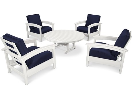 Trex® Outdoor Furniture 5 Piece Rockport Deep Seating Set in Classic White / Navy TRXTXS1382CW5439