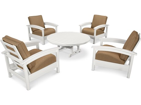 Trex® Outdoor Furniture 5 Piece Rockport Deep Seating Set in Classic White / Sesame TRXTXS1382CW8318