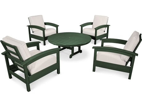 Trex® Outdoor Furniture 5 Piece Rockport Deep Seating Set in Rainforest Canopy / Bird's Eye TRXTXS1382RC5472