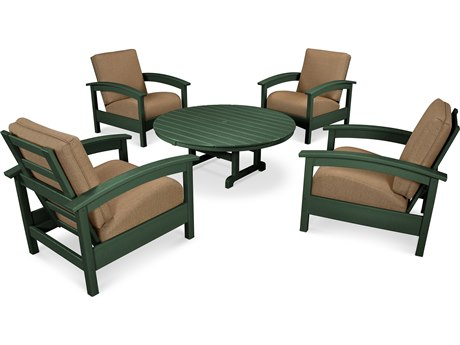 Trex® Outdoor Furniture 5 Piece Rockport Deep Seating Set in Rainforest Canopy / Sesame TRXTXS1382RC8318