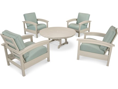Trex® Outdoor Furniture 5 Piece Rockport Deep Seating Set in Sand Castle / Spa TRXTXS1382SC5413