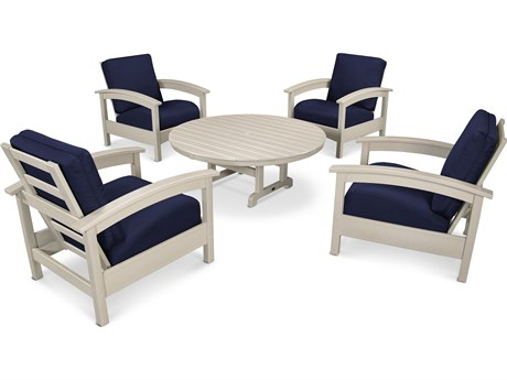 Trex® Outdoor Furniture 5 Piece Rockport Deep Seating Set in Sand Castle / Navy TRXTXS1382SC5439