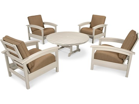 Trex® Outdoor Furniture 5 Piece Rockport Deep Seating Set in Sand Castle / Sesame TRXTXS1382SC8318