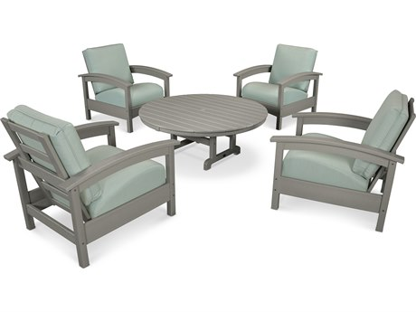 Trex® Outdoor Furniture 5 Piece Rockport Deep Seating Set in Stepping Stone / Spa TRXTXS1382SS5413