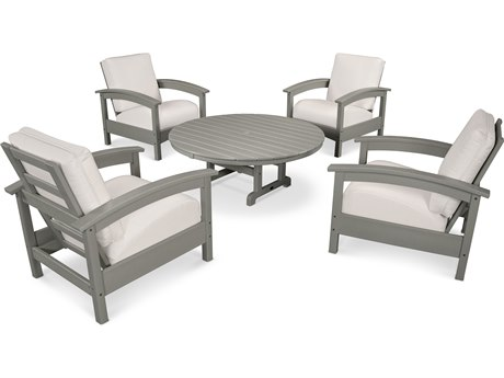 Trex® Outdoor Furniture 5 Piece Rockport Deep Seating Set in Stepping Stone / Bird's Eye TRXTXS1382SS5472