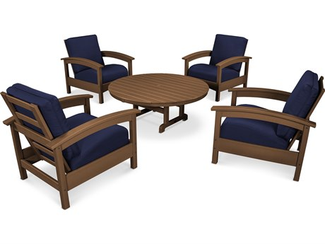 Trex® Outdoor Furniture 5 Piece Rockport Deep Seating Set in Tree House / Navy TRXTXS1382TH5439