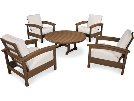 Trex® Outdoor Furniture 5 Piece Rockport Deep Seating Set in Tree House / Bird's Eye TRXTXS1382TH5472