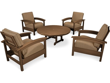 Trex® Outdoor Furniture 5 Piece Rockport Deep Seating Set in Tree House / Sesame TRXTXS1382TH8318