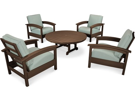 Trex® Outdoor Furniture 5 Piece Rockport Deep Seating Set in Vintage Lantern / Spa TRXTXS1382VL5413
