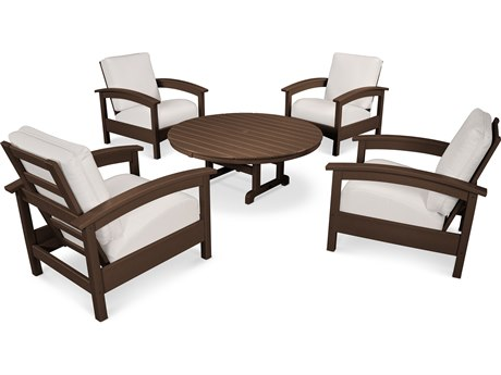 Trex® Outdoor Furniture 5 Piece Rockport Deep Seating Set in Vintage Lantern / Bird's Eye TRXTXS1382VL5472