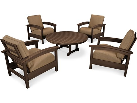 Trex® Outdoor Furniture 5 Piece Rockport Deep Seating Set in Vintage Lantern / Sesame TRXTXS1382VL8318