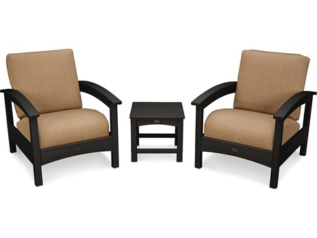 Trex® Outdoor Furniture Rockport Club 3 Piece Deep Seating Conversation Set in Charcoal Black / Sesame TRXTXS1392CB8318