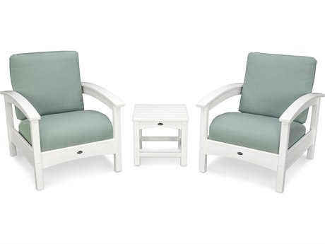 Trex® Outdoor Furniture Rockport Club 3 Piece Deep Seating Conversation Set in Classic White / Spa TRXTXS1392CW5413