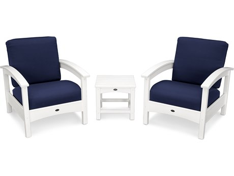 Trex® Outdoor Furniture Rockport Club 3 Piece Deep Seating Conversation Set in Classic White / Navy TRXTXS1392CW5439