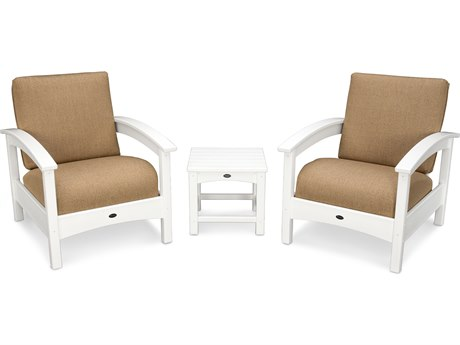 Trex® Outdoor Furniture Rockport Club 3 Piece Deep Seating Conversation Set in Classic White / Sesame TRXTXS1392CW8318