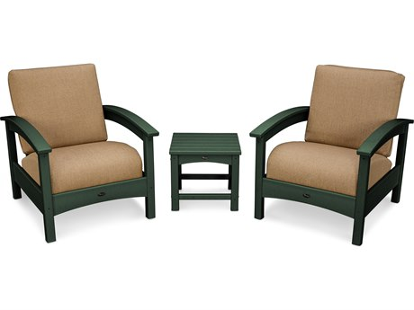 Trex® Outdoor Furniture Rockport Club 3 Piece Deep Seating Conversation Set in Rainforest Canopy / Sesame TRXTXS1392RC8318