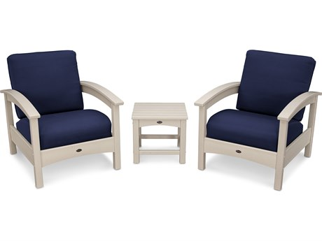 Trex® Outdoor Furniture Rockport Club 3 Piece Deep Seating Conversation Set in Sand Castle / Navy TRXTXS1392SC5439