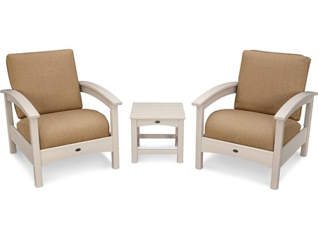 Trex® Outdoor Furniture Rockport Club 3 Piece Deep Seating Conversation Set in Sand Castle / Sesame TRXTXS1392SC8318