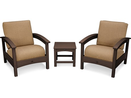 Trex® Outdoor Furniture Rockport Club 3 Piece Deep Seating Conversation Set in Vintage Lantern / Sesame TRXTXS1392VL8318