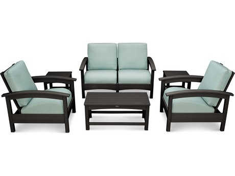 Trex® Outdoor Furniture Rockport Club 6 Piece Deep Seating Conversation Set in Charcoal Black / Spa TRXTXS1402CB5413