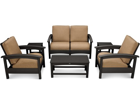 Trex® Outdoor Furniture Rockport Club 6 Piece Deep Seating Conversation Set in Charcoal Black / Sesame TRXTXS1402CB8318