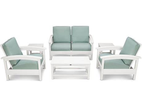Trex® Outdoor Furniture Rockport Club 6 Piece Deep Seating Conversation Set in Classic White / Spa TRXTXS1402CW5413