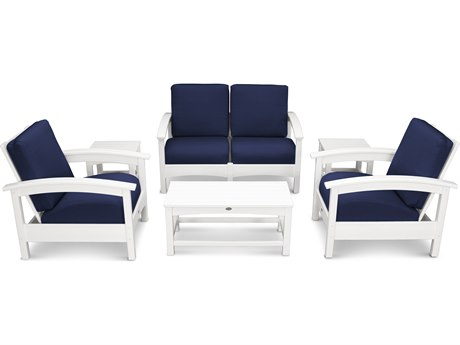 Trex® Outdoor Furniture Rockport Club 6 Piece Deep Seating Conversation Set in Classic White / Navy TRXTXS1402CW5439
