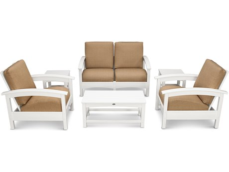 Trex® Outdoor Furniture Rockport Club 6 Piece Deep Seating Conversation Set in Classic White / Sesame TRXTXS1402CW8318
