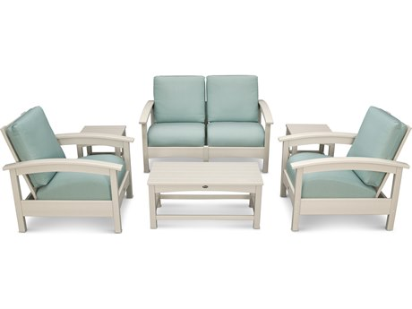 Trex® Outdoor Furniture Rockport Club 6 Piece Deep Seating Conversation Set in Sand Castle / Spa TRXTXS1402SC5413