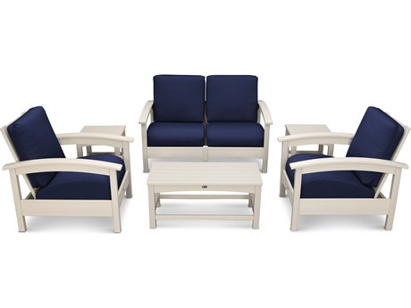 Trex® Outdoor Furniture Rockport Club 6 Piece Deep Seating Conversation Set in Sand Castle / Navy TRXTXS1402SC5439