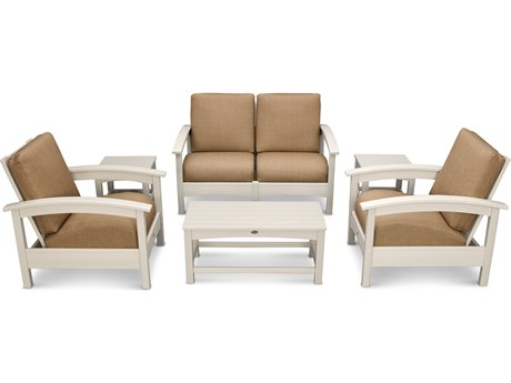 Trex® Outdoor Furniture Rockport Club 6 Piece Deep Seating Conversation Set in Sand Castle / Sesame TRXTXS1402SC8318