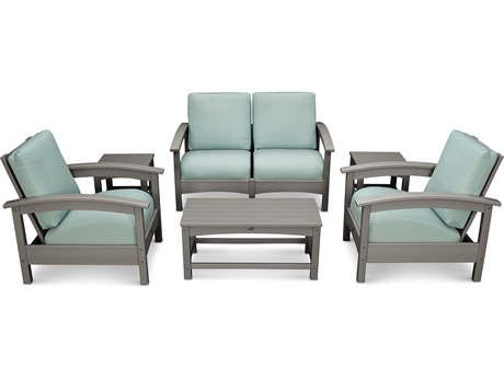 Trex® Outdoor Furniture Rockport Club 6 Piece Deep Seating Conversation Set in Stepping Stone / Spa TRXTXS1402SS5413