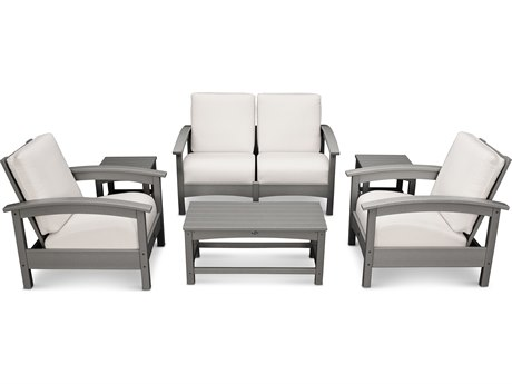 Trex® Outdoor Furniture Rockport Club 6 Piece Deep Seating Conversation Set in Stepping Stone / Bird's Eye TRXTXS1402SS5472