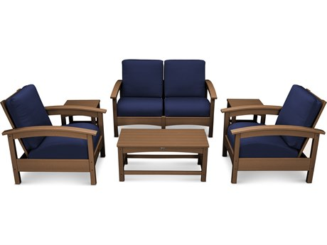 Trex® Outdoor Furniture Rockport Club 6 Piece Deep Seating Conversation Set in Tree House / Navy TRXTXS1402TH5439