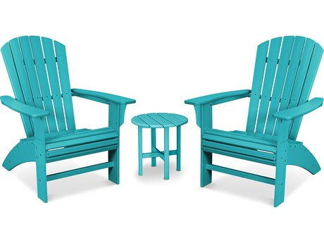 Trex Outdoor Furniture Yacht Club 3-Piece Curveback Adirondack Set in Aruba