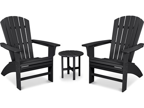 Trex Outdoor Furniture Yacht Club 3-Piece Curveback Adirondack Set in Charcoal Black