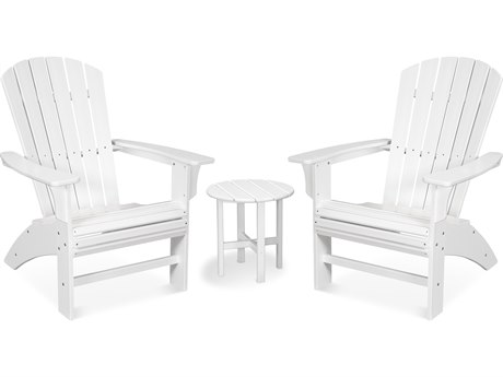 Trex Outdoor Furniture Yacht Club 3-Piece Curveback Adirondack Set in Classic White